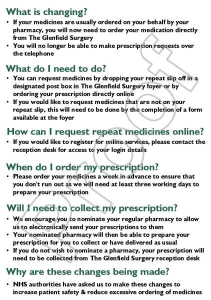 Prepayment prescription form